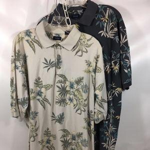 Izod Lacoste Cotton Floral Polo Shirts Set/2 XLT